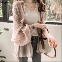 Plus Size 4XL Loose Women Shirts Striped Summer Chiffon Lightweight Causal Sun proof Thin Chic Fashion Ulzzang