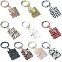 Kimter O Key Ring Fashionable Leather Wristlet Keychain Printing Keyfob Bracelet ID Credit Card Holder Women Wallet Keyrings Free DHL Q21FZ
