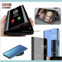 Samsung Galaxy S20 S10 E 5G için Flip Kılıfı 10 Artı Akıllı Temizle Elektrolizle Ayna Deri Standı Slim Kapak Kickstand Göster Vaka QZOWF