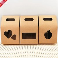 30Pcs Lot Gift Bags Kraft Paper With Small PVC Window Handmade Souvenir Packaging Brown Paperboard Box Apple Heart 10x6x16cm Wrap