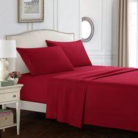 Hoja de cama Funda de almohada Cubierta de colchón Set Sólido Color Ropa de cama Tres juegos de cuatro piezas Microfibra Hoja de sinción resistente