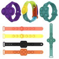 Pop It Bracelet Simple Dimple Fidget Toys Flip Keychain Popit Push Pop Bubble Silicone Stress Reliever Toy Gift for Kids Adults