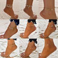 Bohemian Multilayer Shell Perline Anklets per le donne Vintage Starfish Braccialetti di Starfish Bracciali alla caviglia sulla catena del piede della gamba Gioielli della spiaggia di estate
