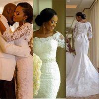 Luxury Mermaid Wedding Dresses Off Shoulder Full Lace Applique Beaded Sash 3 4 Long Sleeves Sweep Train African Nigerian Bridal Gowns