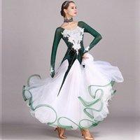 Бальные танцы соревнований платье стандартные платья современный танец костюм бальные зеленый зеленый горный хрусталь вальсы платья светящиеся костюмы e1ig #