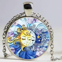 Солнце и луна ожерелье, милый звездный кулон, день ночной ювелирные изделия стеклянные кабошон подвесной цепь заявление о цепочке свитер