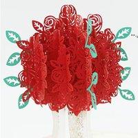 ارتفع المنبثقة بطاقة النقش 3d بطاقات المعايدة الإبداعية الرومانسية الأحمر زهرة اليدوية بطاقة عيد الحب بطاقة هدية يوم مخصصة HHA7175