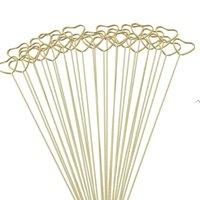 Gifts Wrap Packaging Florist Bouquet Gift Card Holders Golden Round Heart Star Metal Long Stick Flower Clip HHD10134