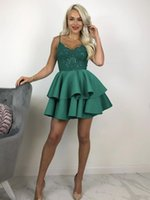 Charming Green Short Prom Dress Tiered Design Spaghetti Straps A-line Cocktail Party Dresses for Women Custom Made