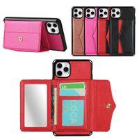 Mirror maquillaje Flip Wallet PU Cuchillo de cuero Cajas de teléfono celular para iPhone 12 11 Pro Max XR XS x 8 7 Plus con tarjetas Pocket Money Slots Women Girl Funda