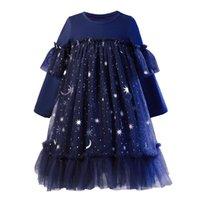 Платья девочки {Сладкий ребенок} Детская одежда Девушки платье повседневная милый стиль с длинным рукавом луна звезды шарикового платья принцесса