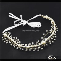 EE.UU. Warehouse Accesorios de flores Diadema Pearl Acrílico Nupcial Vid Hairbands Crown Hourpiece Novia para mujer DRTBG Joyería 1WGJA