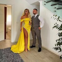 Yellow Off Shoulder Side Split Prom Dresses Crystal Ruched Arabic Evening Gowns Robe Sirene Soiree 2021