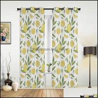 Deco El Supplies Gardenfruit Curtain Lemon Pattern Window Curtains For Living Room Kitchen Bedroom Drapes Kids Home Decor & Drop Delivery 20
