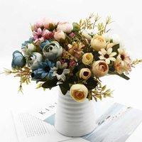 10バンドル造花ブーケ家の装飾アクセサリーの結婚式のdiyクリスマス花瓶の花の配置