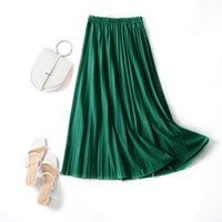 Skirts TFETTERS Spring Summer 2021 Thin Simple Style Pleated Skirt Solid Color Elastic High Waist Versatile Mid Women