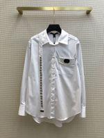 Рубашки Милана взлетно-посадочные пути 2021 с длинным рукавом панель из лацбала шеи дизайнер блузки бренки бренда же стиль женщины 0317-9
