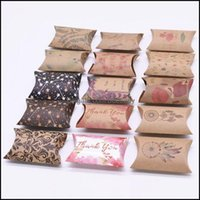 Wrap Event Festive Party Supplies Home & Garden10 20 50Pcs Mti-Patterns Printed Kraft Paper Boxes Cute Mini Pillow Shaped Candy Bags For Wed