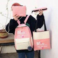 Backpack 4pcs set Letter Printing Shoulder Top-handle Pen Bags Clutch Backpacks Casual Women Canvas Composite Knapsack Totes Purse