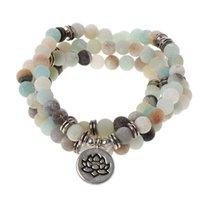 Mala Amazonite 108 бусин ожерелье для йоги буддийской розарие молитва шарм браслет 40JF бисером, пряди