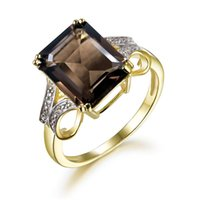 Cluster Rings TBJ,925 Sterling Silver Yellow Color With Natural Gemstone Smoky Quartz Emerald Cut For Women Party Wear Jewelry Gift
