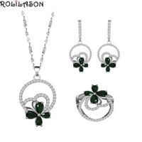 Ohrringe Halskette Rolilason Großer Verkauf Grün Zirkon Silber Farbe Schmuck Ring Ohrring Set Frauen Jubiläum / Hochzeit / Party JS861