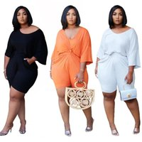 Women's Tracksuits Women Set Two Piece Solid Plus Size XL-5 XL Fashion Tee Top Knee Length Jogger Sweatpant Suit Casual Fitness Outfit