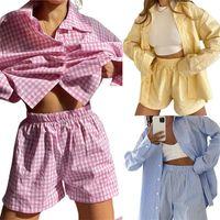 Women's Tracksuits Hirigin 2021 Female Striped  Plaid Turn-Down Collar Long Sleeve Shirt+ Short Pants For Autumn Casual 2 Pieces Suit Set