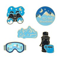 Sun Moon Mountains and Rivers Outdoor Adventure Brooches Set 7pcs Gold Plated Enamel Paint Badges for Girls Alloy Lapel Pin Shirt Jewelry Gift Bag Hat Accessories
