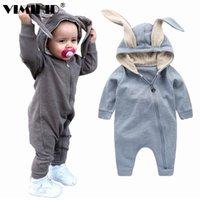 Vimikid o outono bebê escalar roupas cute coelho orelha macacões um compromete-se a 210816