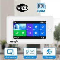 Tuya WiFi GSM GPRS Allarme di sicurezza domestica con touch screen SOS RFID Pir Motion Detect Intruso Supporto con scasso Alexa Google Systems