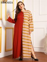 Siskakia Casual Ethnic Maxi Long Dress For Women Autumn 2021 Stand Collar Full Sleeve Loose Plus Size Muslim Arabic Clothes Dresses