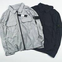 남자 나일론 옷깃 목 넥 아일랜드 자 켓 자수 아마 로고 자켓 더블 포켓 스톤 디자이너 outwear 코트 CP110