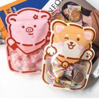 4 Styles Cute Cartoon Bear Snack Bag Self Sealing Bag Hand Baked Food Package Small Fine Zipper Bag OWD7711