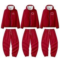 Red Squid Game Jacket Pants Round Six Tracksuits Halloween Costumes Cosplay Sets Sports Zipper Cardigan Digital Printing Pocket Sweatshirts Set H1012