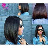 Capelli vergini peruviani Straight Bob U Parte Parrucche non trasformate 130DENSITY UPART Parrucche per capelli umani per le donne nere Parte centrale