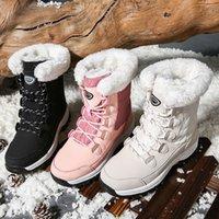 Wasserdichte Schuhe weibliche Schneestiefel Plattform Mujer Botas Knöchel Winterstiefel mit dickem Pelzmädchen