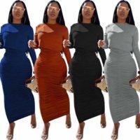 Robe 2 à deux pièces Femme Associée Ensemble automne automne à manches pleine recadrage et jupe longue plissée drapé occasionnel Solid Club Outfit 2021