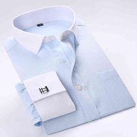 Francia Gemelli Bianco Collare Bianco Tuxedo Camicia da uomo Formale manica lunga Abito da uomo Shirts Social Stampato Qualità di moda stampata con tasca 210322