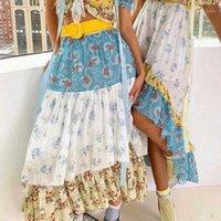 Boho a inspiré des maxi à fleurs sauvages maxi imprimées à fleurs à volants à volants à volants femmes jupes femme élastique taille boho jupes gypsy gypsy fille long 20201