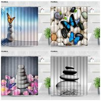 Shower Curtains Blue Butterfly Zen Stone Sets Pink Flowers Pebble Garden Scenery Chic Bath Screens Polyester Home Bathroom Decor