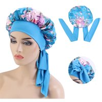 Flower Print Satin Bonnet with Wide Stretch Ties Long Hair Care Women Night Sleep Hat Adjust Hair Cap Silk Head Wrap Shower Cap