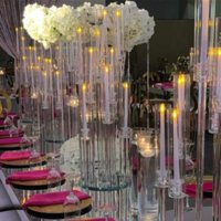 Decoración de fiesta al por mayor 10 brazos de tallo largo moderno claro claro acrílico acrílico huracán cristal candelabros titulares de la mesa de la boda Piedres Candel