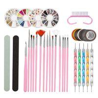 Nail Art Kits Kit Fashion Line Drawing Dotting Pen Rhinestone Easy Apply Portable DIY Manicure Home Salon Professional Painting Brush