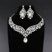 Dubai Crystal Water Collace Pendientes Pendientes de joyería nupcial Establece Rhinestone Tiaras Crown para la boda de la novia