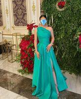One Shoulder Satin Green Evening Dresses with Pockets Long Zipper Back Side Slit Abendkleider Robes de Soiree Prom Gowns