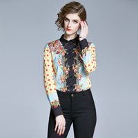 Women's T-Shirt Womens Luxury Flower Print Tops and Vintage Office Long Sleeve Blusas mujer Fashion Female Thin s Blouse 9LVV