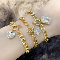 Charm Bracelets EYIKA Fashion Shining Zircon Rectangle Cube Heart Star Pendant Bracelet Curb Cuban Link Chain Charms Women Crystal Jewelry