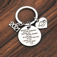 Kimter High School Key Rings Graduation Gifts Keychain for 2021 Students Stainless Steel Keys Holder Fashion Accessories W64F