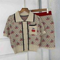 Vintage Kiraz Örgü İki Parçalı Set Kadın Kıyafetler Kırpma Üst + Bodycon Mini Etek Setleri Kız Kazak Kazak 2 Peice Suits 210514